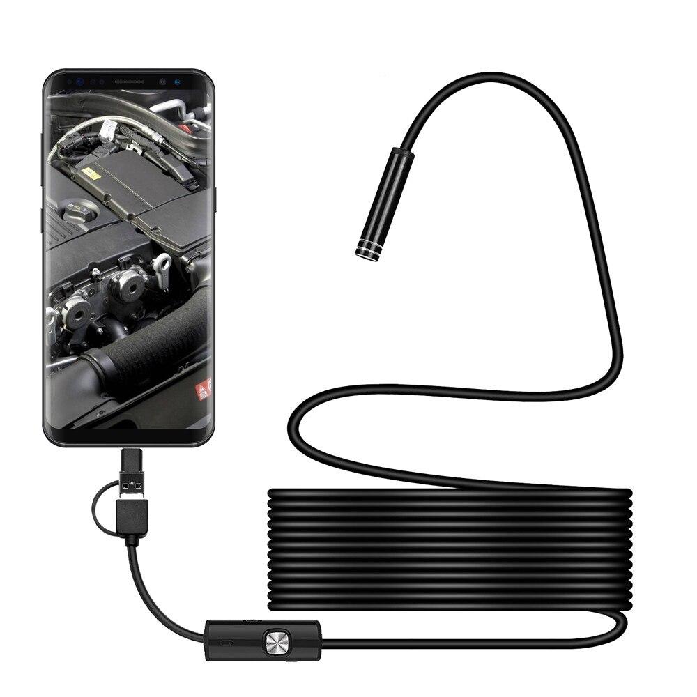3in1 Type-c Android USB Endoscope Camera 5.5mm Hard Cable PC Android Phone Endoscope Pipe Endoscope Inspection Mini Camera
