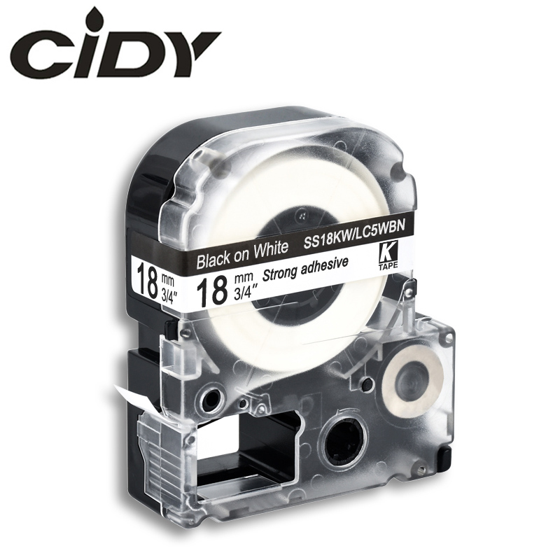 CIDY 18MM Black On White SS18KW/LC-5WBN LC 5WBN LC-5WBN9 Label Tape For Kingjim/epson For LW300 LW400 LW-600P LW-700P