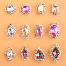 100 шт 3d nail художественный амулет радужные кристаллы flat