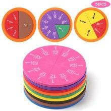 51Pcs EVA strumento di frazioni a forma rotonda Montessori giocattoli educativi matematici regali per l'insegnamento della matematica strumento per l'apprendimento degli studenti