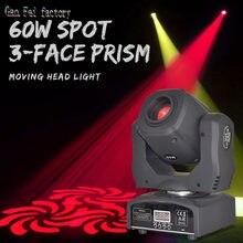 Lumière de scène à tête mobile 60W DMX 512 avec Gobos Lyre et prisme à 3 couleurs, idéale pour les DJ et les fêtes Disco