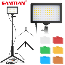 SAMTIAN 2021 NEW LED Video Light 2 Set Photography Light Dimmable 5600K USB Panel Light With Tripod add 6 colors Color filter