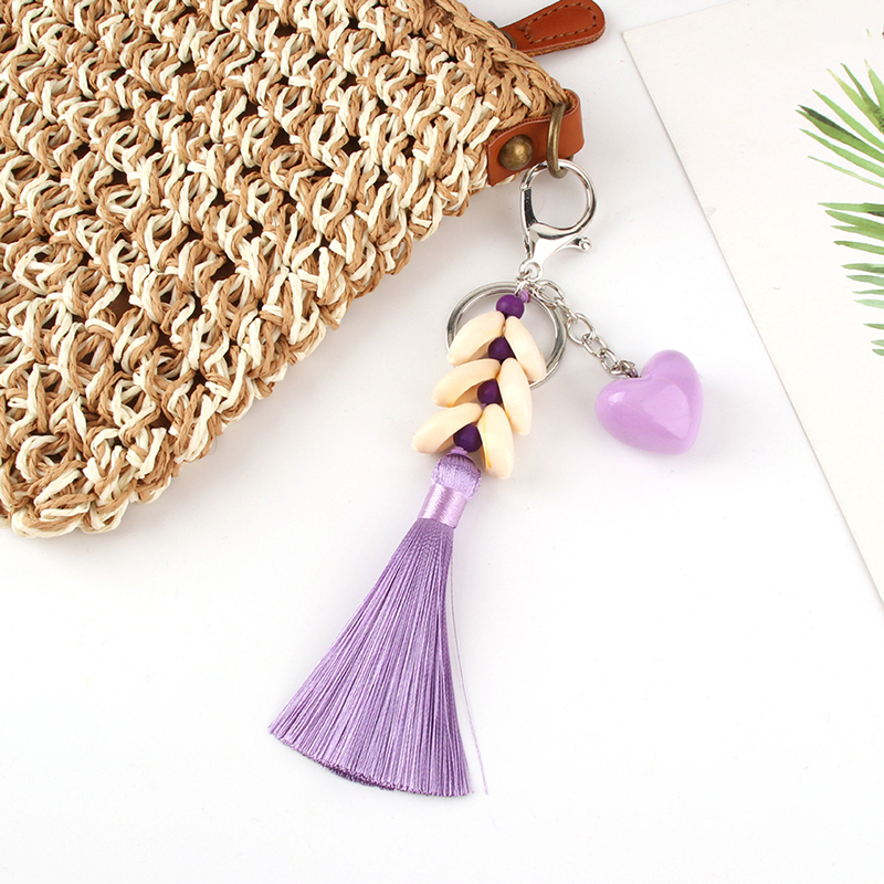 Colorful Boho Style Big Ball Hanging With Tassel KeyChains Vegetable Plush Couple Key Chain Bag Pendant For Women Jewelry