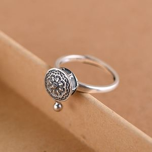 Image 2 - GAGAFEEL Retro Thai Silver Ring Womens Six word Mantra Open Ring Prayer Wheel Design Jewelry S925 Sterling Silver Rings