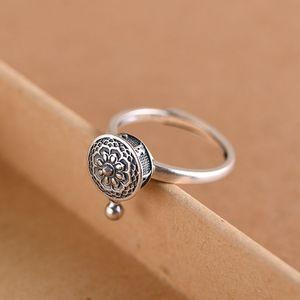 Image 2 - Женское серебряное кольцо GAGAFEEL, Открытое кольцо в стиле ретро из тайского стерлингового серебра 925 пробы с шестисловом и мантрой, ювелирные украшения для молитвенного колеса