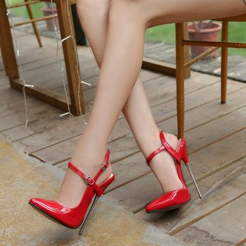 Big Size 35-44 Women Patent Leather Thin Heeled Sandals Ankle Strap Pumps Super High Heels 16 CM Lady Nightclub Shoes DB0023 image