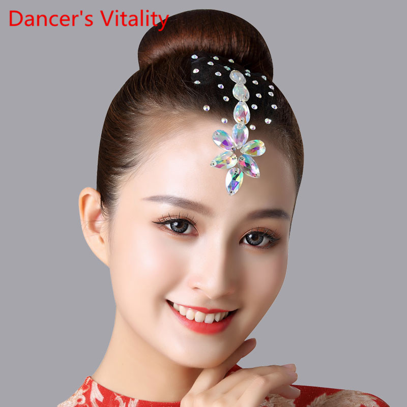 New Children Latin Dance Headdress Competition Professional Performance Diamond Accessories Adults National Standard Decoration