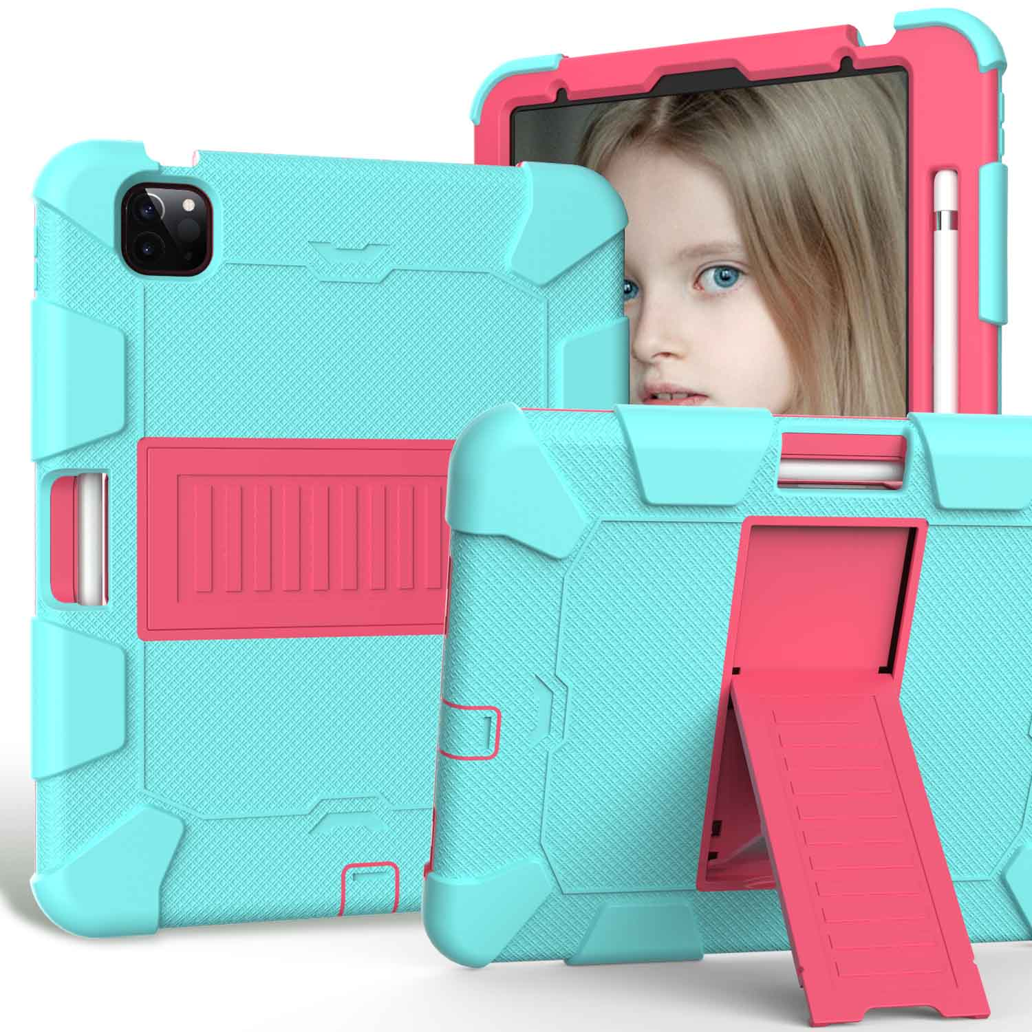 1 Blue Kids Tablet Case for iPad Air 4 10 9 inch 2020 Heavy Duty Hybird Shockproof PC