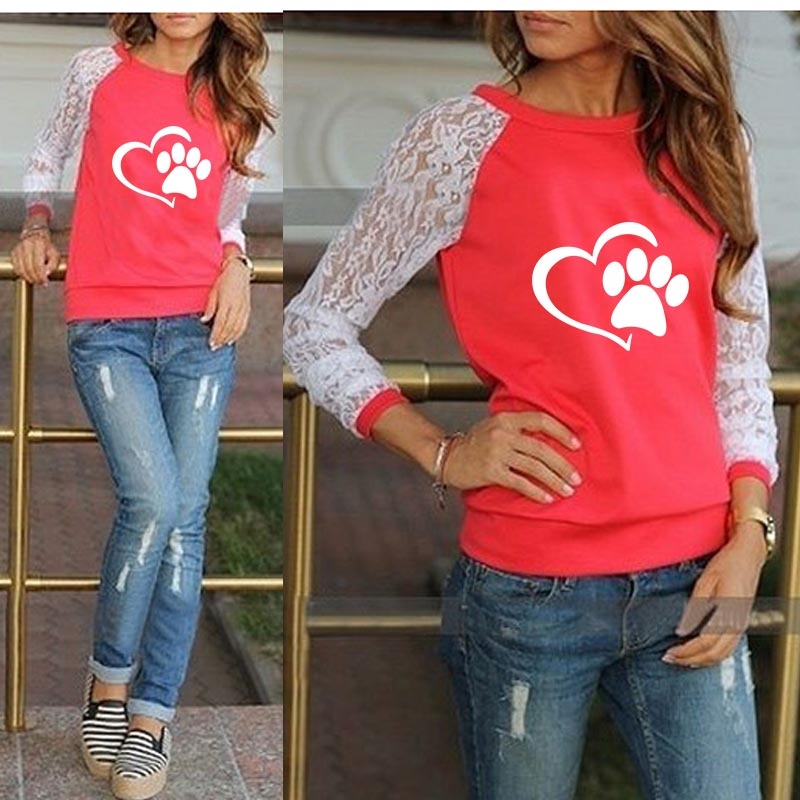 BLady Womens Comfy Quilted Full Sleeve Dog Face Applique O Neck Sweatshirt