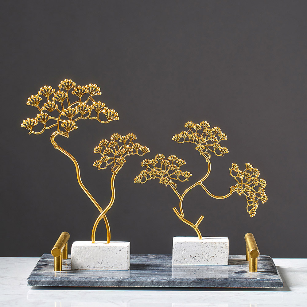 European Style Creative Iron Golden Plants Trees Ornaments Home Decor Fengshui Home Decoration Accessories for Living Room Gift