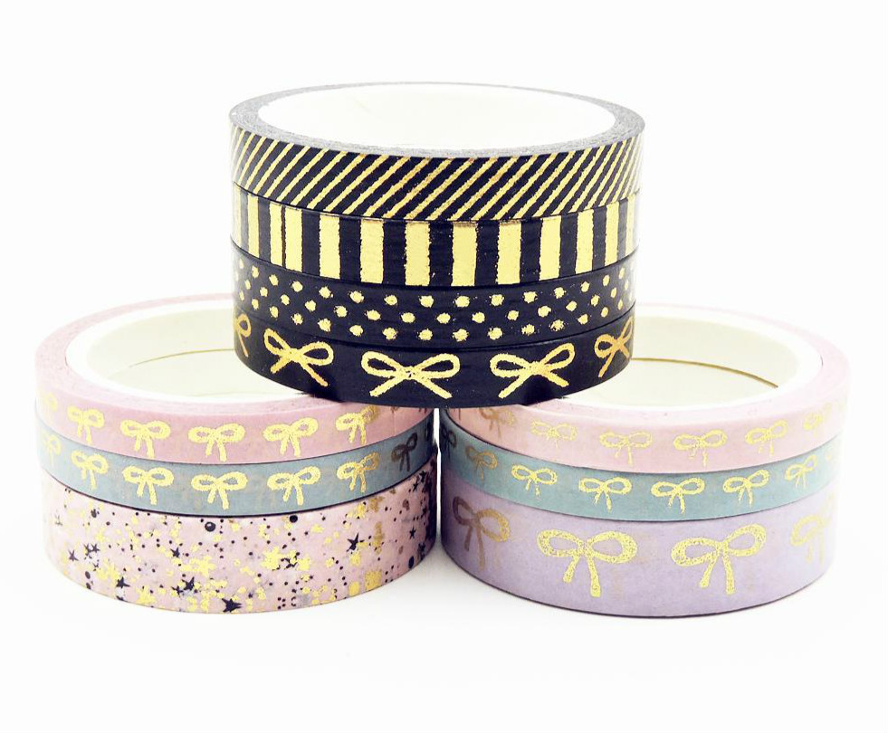 3-4Pcs/Set Bow Foil Washi Tape Stationery Album Tools School Diy Paper  Scrapbook Scrapbooking Gift Photo Quality Stickers