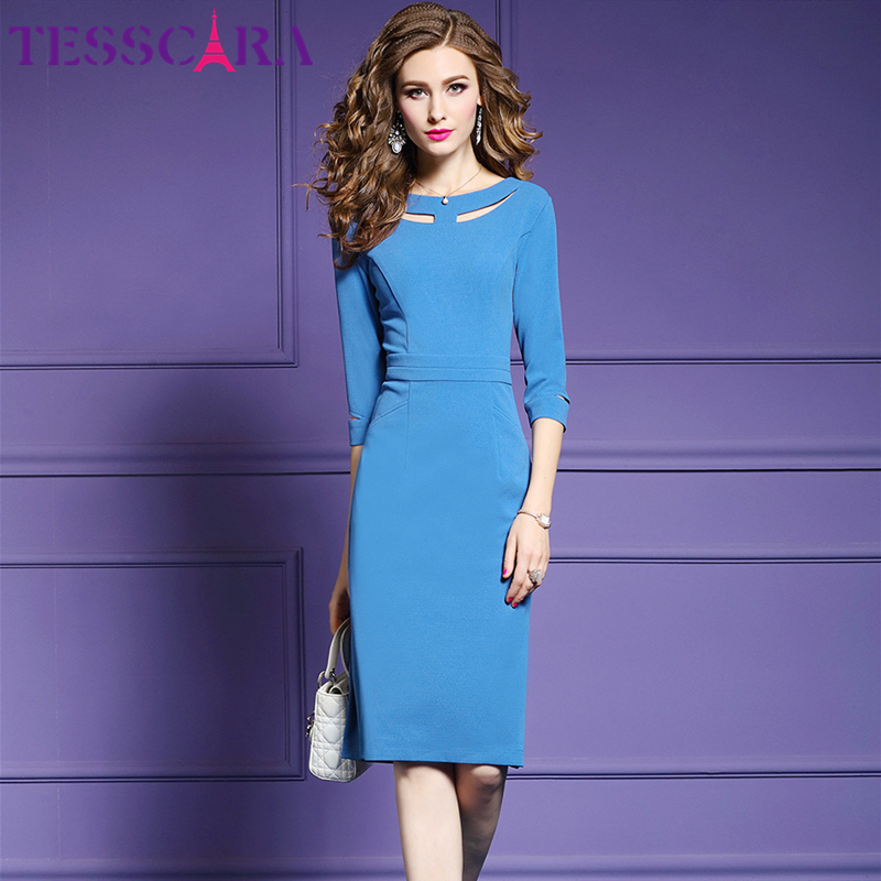 TESSCARA Women Blue Elegant Office Pencil Dress Female Hollow Out Cocktail Vestidos Retro Party Robe Femme Plus Size M-3XL