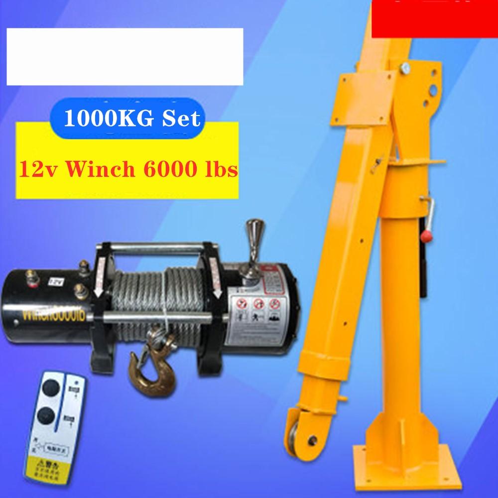 Truck Crane 1 Ton12/ 24v Small Truck Crane 220V Household Electric Hoist Crane Winch 3000 Lbs +Truck Crane