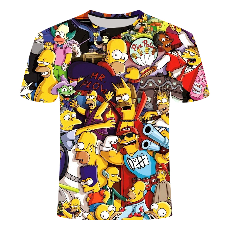 Simpsons Animation 3D Printed T-shirts Men's Women's Children's With Round Collar And Short Sleeves Summer Kid's Funny Camiseta