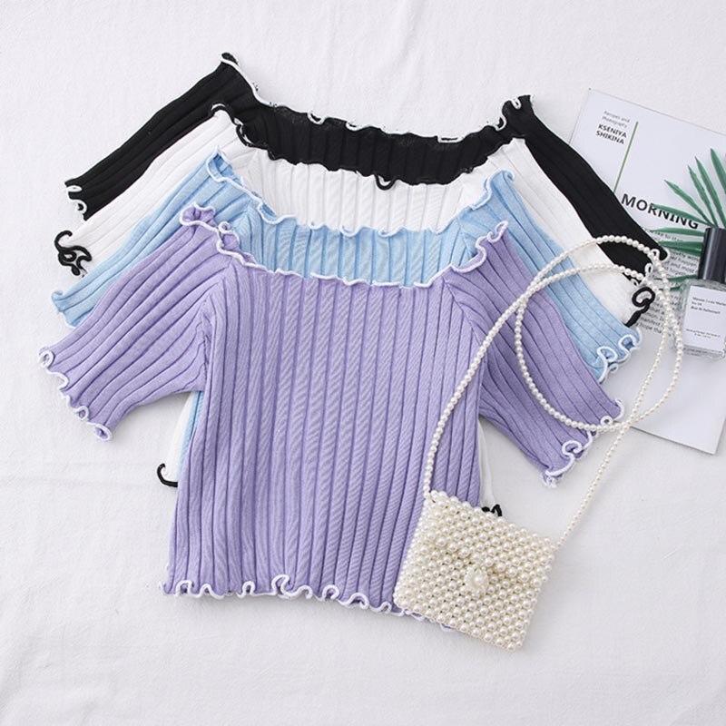HELIAR Women T-shirts Off Shoulder Knitting Crop Tops Women Short Sleeve Stretchy Ruffles Hem T-shirts Stripes Tops For Women 4