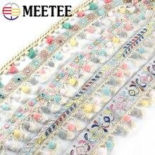 3Meter Meetee Bestickt Jacquard Spitze Band Baumwolle Quaste Pompon Trim DIY Handmade Hometextile für Nähen Curatin Zubehör