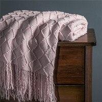 Capa de sofá com borlas, cobertor rosa com rosca de malha para sofá, inverno quente 150x200, toalha macia nórdica