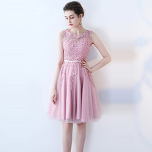 Bridesmaid Dress Lace Many Color Illusion Flowers Dinner Dresses Beading A-line Knee Length Embroidery Party Formal LX073