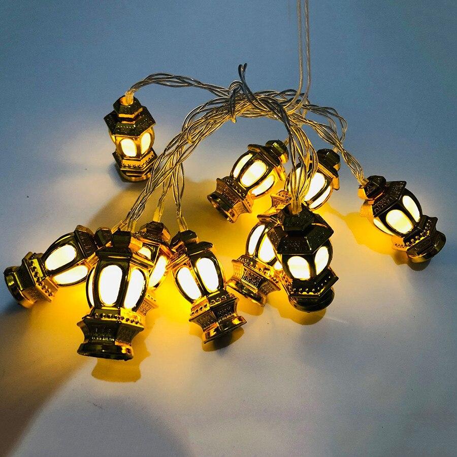 BEIAIDI Gold Palace Lantern Fairy String Light Battery Powered Garland Ramadan Oil Lantern Halloween Party Christmas Tree Light