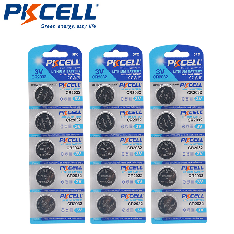 15PCS 3V CR2032 Lithium Button Bateria DL2032 CR DL 2032 BR2032 3V Coin Cell Battery for car remote key Watch Batteries