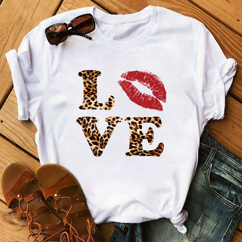 Maycaur Fashion Love Red Lip Print T-shirt Women Vogue Leopard Print  Women Tshirts Summer Casual Harajuku TShirt Femme Tops Tee