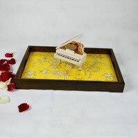 Ceramic tray tea table solid wood rectangular large European garden tea table flat storage wooden pallet
