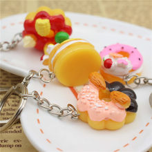 1 pcs Doughnut Cute Cake Keychain For Women Girls Gifts Charming Simulation Food Resin Car Bags Keyring Hot sell(China)