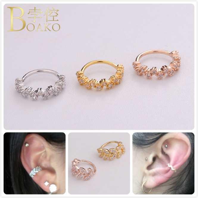 Punk Zircon ขนาดเล็กต่างหูคริสตัล Hoop ต่างหูสำหรับผู้หญิง/ผู้ชายหูต่างหูผู้หญิง Leaf หูจมูกแหวนเจาะเครื่องประดับ Z5