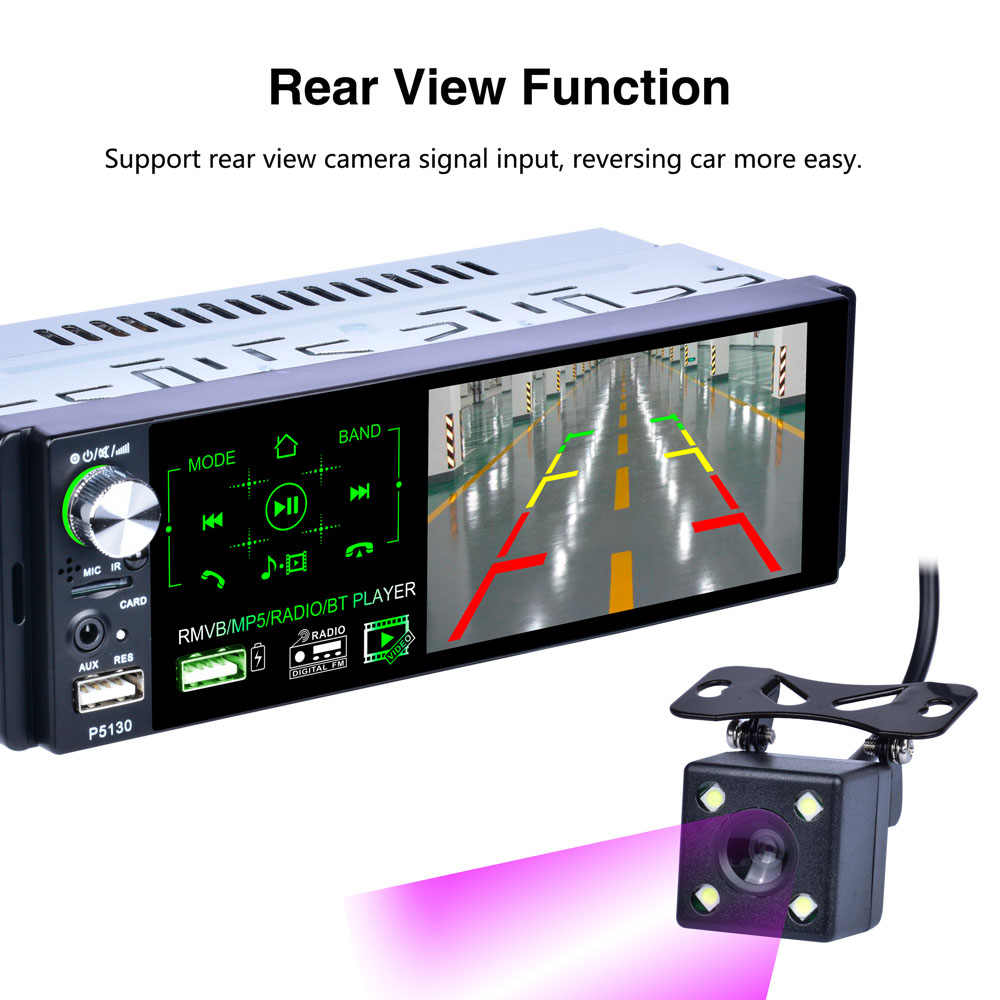 """مصنع P5130 12 فولت 1din راديو السيارة 4.1 """"شاشة تعمل باللمس الوسائط المتعددة MP5 لاعب السيارات ستيريو بلوتوث RDS FM SWC وكاميرا الرؤية الخلفية"""