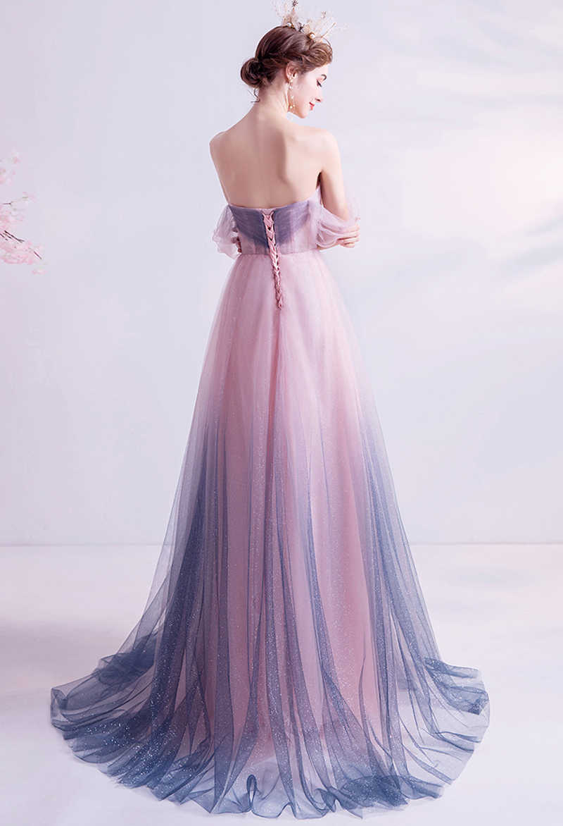 SSYFashion New Sweet Gradient Pink Purple Evening Dress Romantic Lace Appliques Beading Long Prom Formal Gowns Robe De Soiree