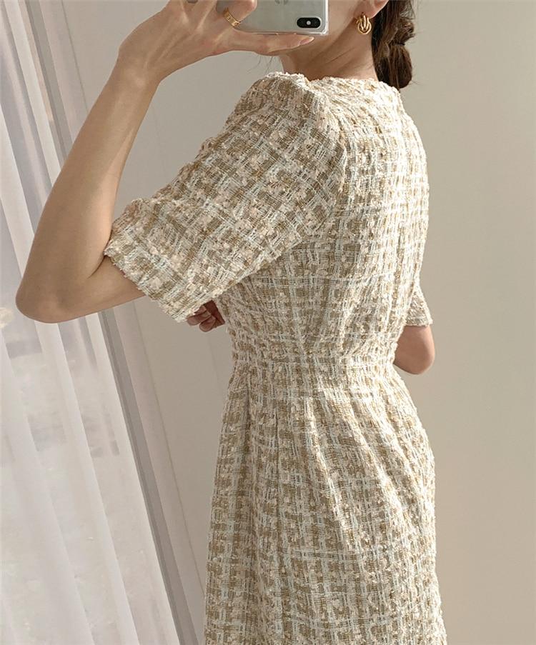 High Waist Casual Puff Sleeve Plaid Elegant Vintage Mini Dress 9