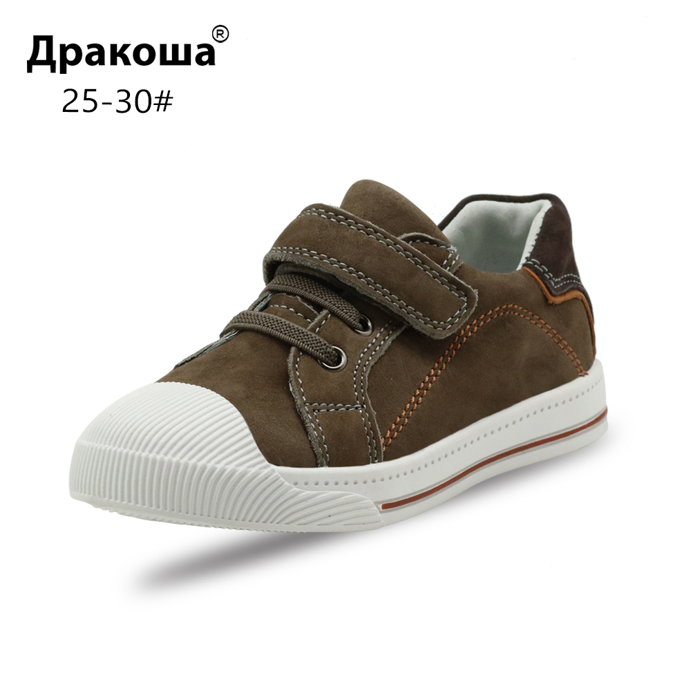 Apakowa Little Kids Leather Low-top Hook and Loop Sneakers for Boys and Girls Outdoor Anti-Slip Casual Sports Running Shoes image