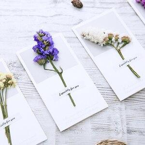 Image 4 - 10pcs Gypsophila fiori secchi scritto a mano benedizione biglietto di auguri di carta regalo di compleanno inviti di nozze