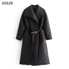 Зимние женские теплые пальто Черное длинное с поясом толстое
