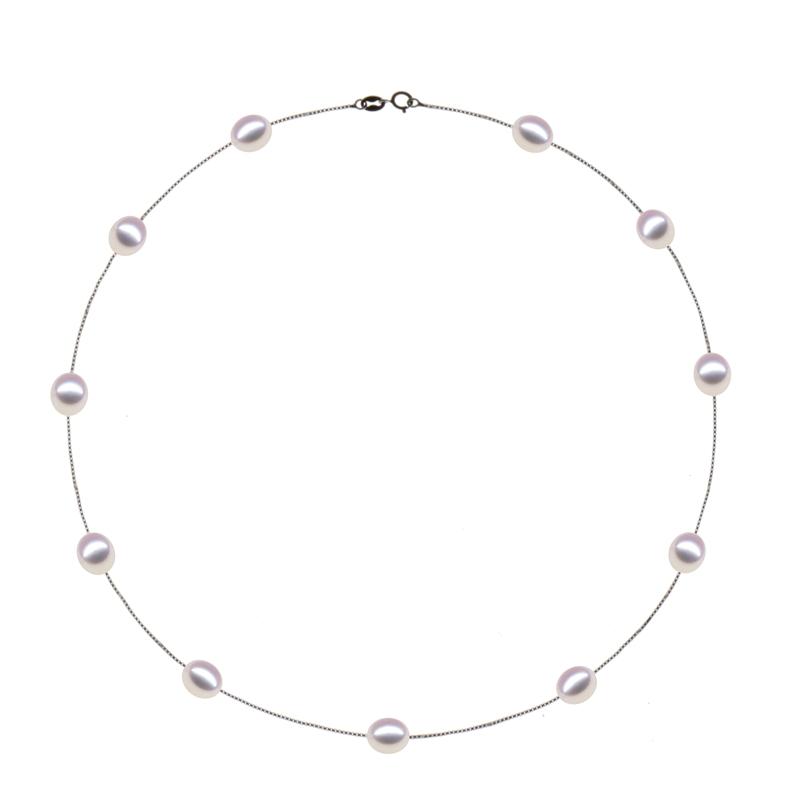 Fashion 925 sterling silver jewelry Natural Pearl Choker Necklace for - Fine Jewelry
