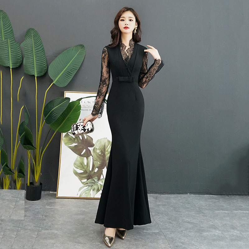 Lace Appliques Black Female Long Cheongsam Floor Length Full Sleeve Maxi Dress V-Neck Sexy Gown Bowknot Elegant Vestidos
