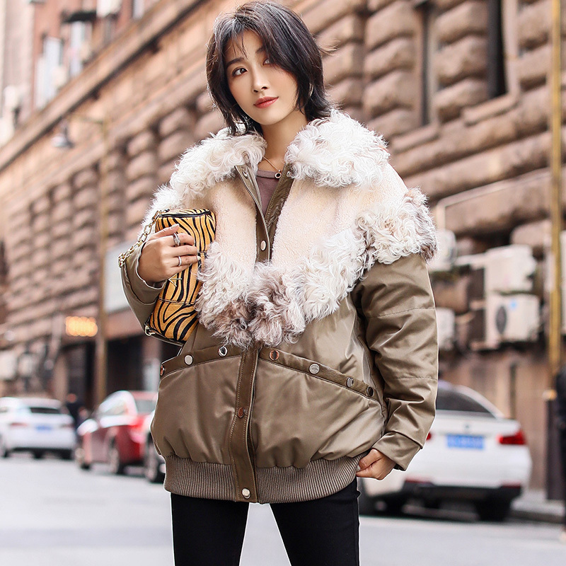 Natural Real Fur Coat Female Warm Duck Down Jacket Women 100% Wool Jackets Winter Coat Women Clothes 2020 Doule Faced Top 202052