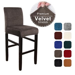 Velvet Elastic Chair Cover for Bar Stool Short Back Dining Room Chair Slipcover Spandex Stretch Case for Chairs Banquet Wedding(China)