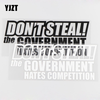 YJZT 20CM*8.2CM Don't Steal The Government Hates Competition Car Sticker Vinyl Decal JDM Black/Silver 4A-0090 image