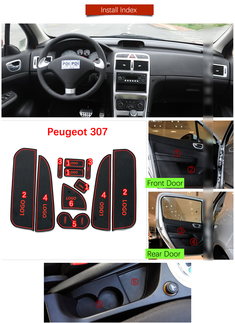 Door Groove Mat For Peugeot 307 307SW 307CC Hatchback Sedan 2001 -2011 SW CC Accessories Anti-Slip Mat Gate Slot Coaster Car