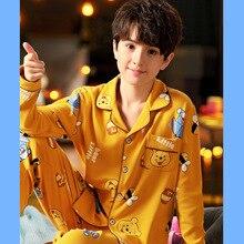 Disney Pooh Bear Children's Pajamas Spring and Autumn Boys 100% Cotton Long Sleeve Thin Pajamas