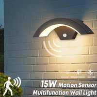Smuxi 15W Wall Light Outdoor Motion Sensor LED Wall Lamp Waterproof IP54 Garden Yard Porch Outdoor Warm White Light Weatherproof