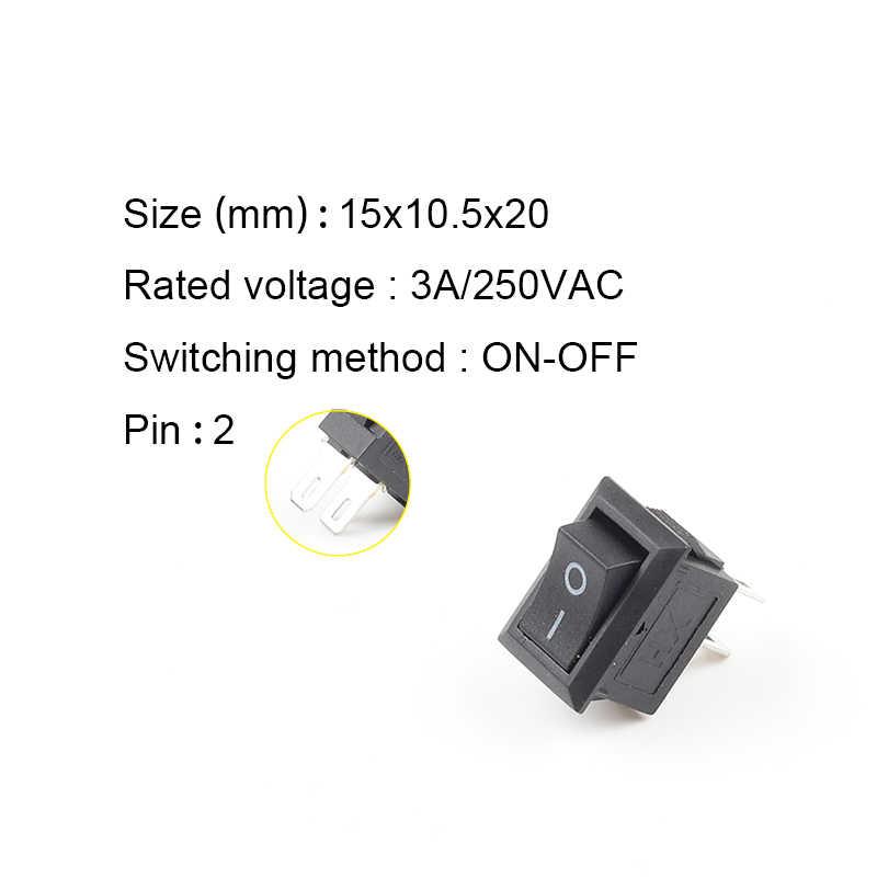 10 Teile/los KCD11 2 Pin 10x15mm Mini Push Button Switch SPST 3A 250V AC Snap-in Auf/Off Boot Rocker Schalter 1 Schwarz Rot Weiß Grau