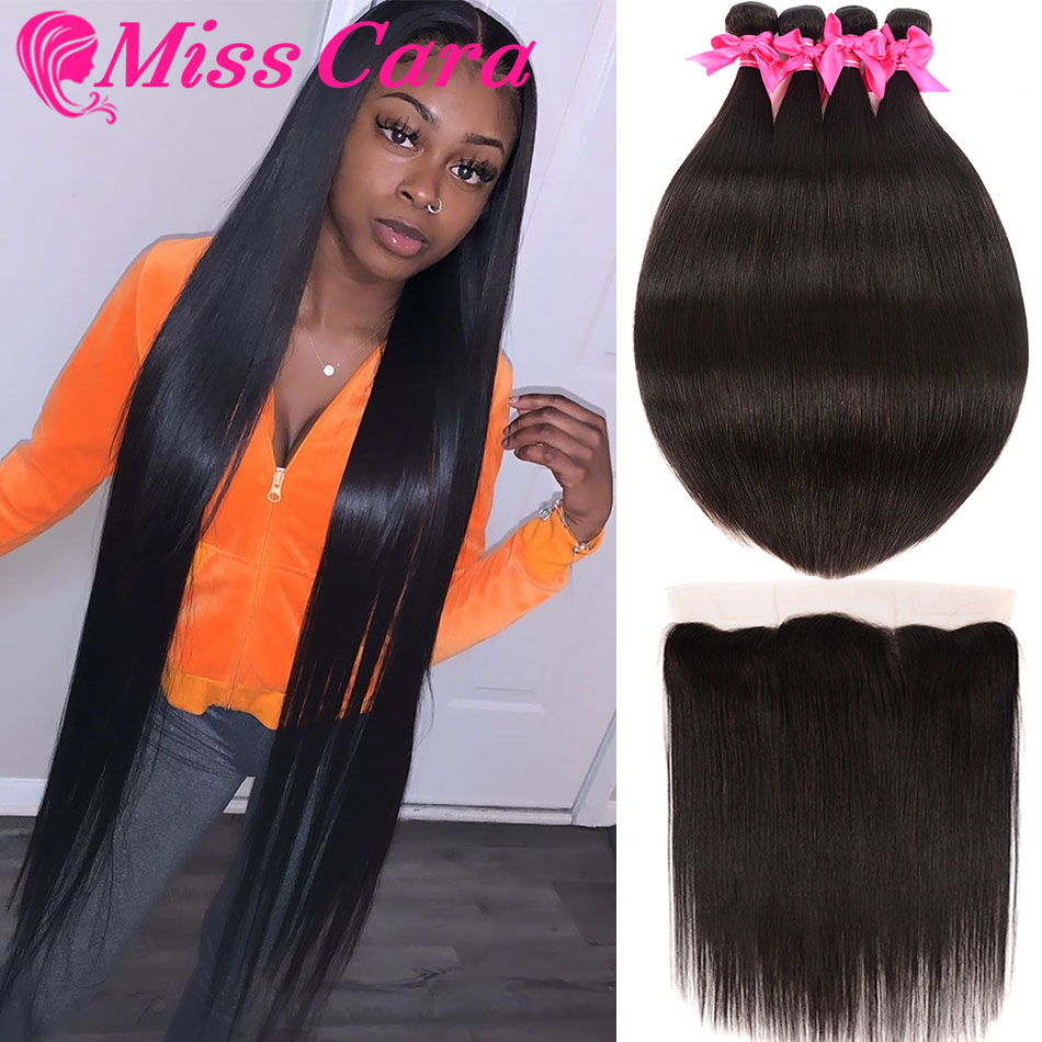 Transparent Lace Frontal With Bundles Brazilian Straight Hair Bundles With Frontal 100% Miss Cara Remy Human Hair With Closure