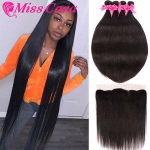 Transparente Frontal de encaje con mechones de pelo lacio brasileño mechones con Frontal 100% la señorita Cara cabello humano Remy con cierre