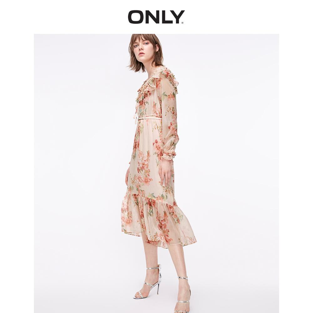 ONLY Women's Plated Laced Splice Cinched Waist Chiffon Dress | 119107574