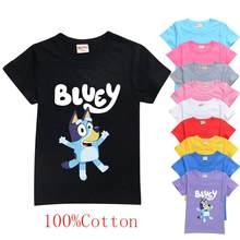 Bingo bluey princesa impressão meninas t camisa dos desenhos animados bluey casual crianças roupas novo verão bebê camiseta 100% algodão