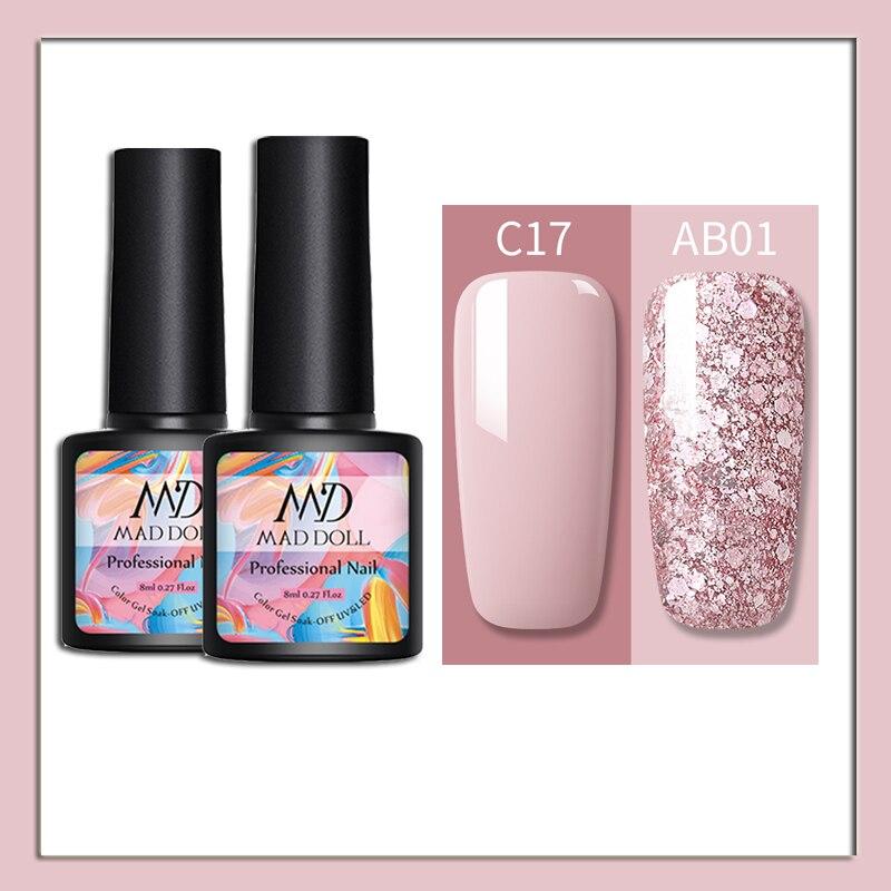 MAD DOLL UV Gel Nail Polish Set Glitter Nude Pink Nail Gel Varnish Semi Permanent Sequins Gel Nail Art Lacquer 2/1pcs