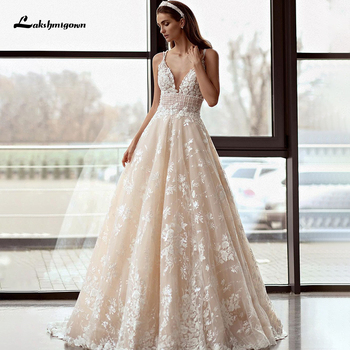 Lakshmigown Ivory Tulle A Line Wedding Dresses 2021 V Neck Spaghetti Strap Lace Appliques Backless Bridal Gown Robe Mariee sodigne tulle wedding dresses a line lace appliques bridal gowns sexy v neck sleeveless backless wedding gown robe de mariee