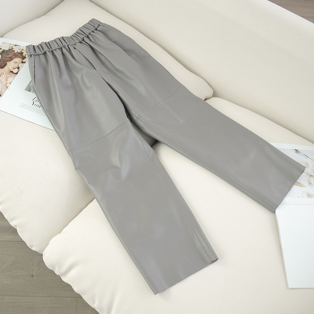 Genuine leather harem pants Women's real sheepskin trousers high waist plus size women pants 2021 new Elastic waist streetwear 1